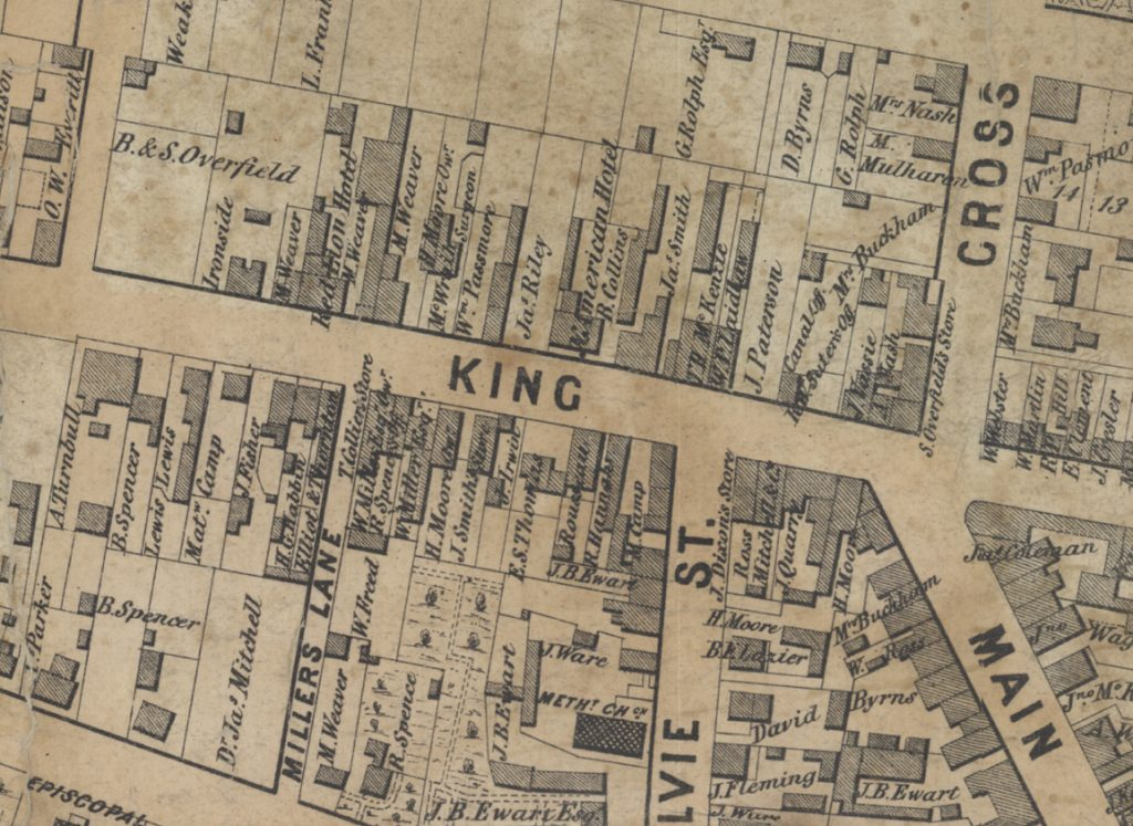Segment of Marcus Smith's 1851 Map of the Town of Dundas