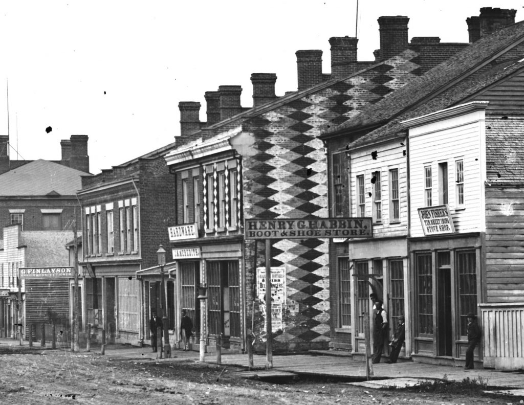 Close-up of the Chequered Store from the circa 1855 view of King Street West, Dundas