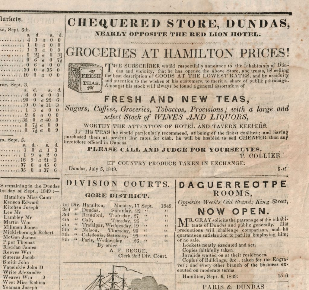 Advertisement for the Chequered Store, circa 1849